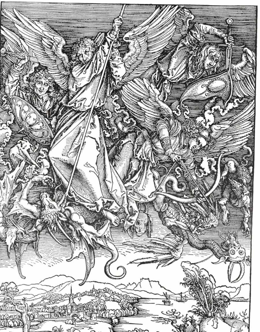 Saint Michael Fighting the Dragon - Albrecht Dürer