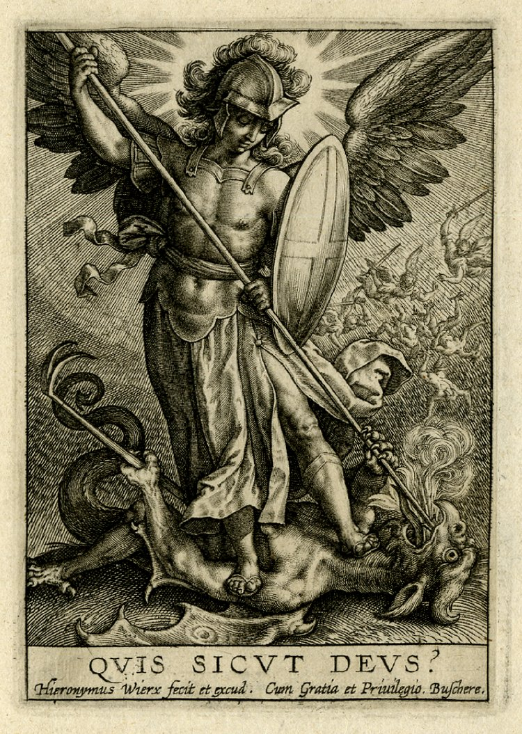 St Michael triumphing over the dragon - Hieronymus Wierix